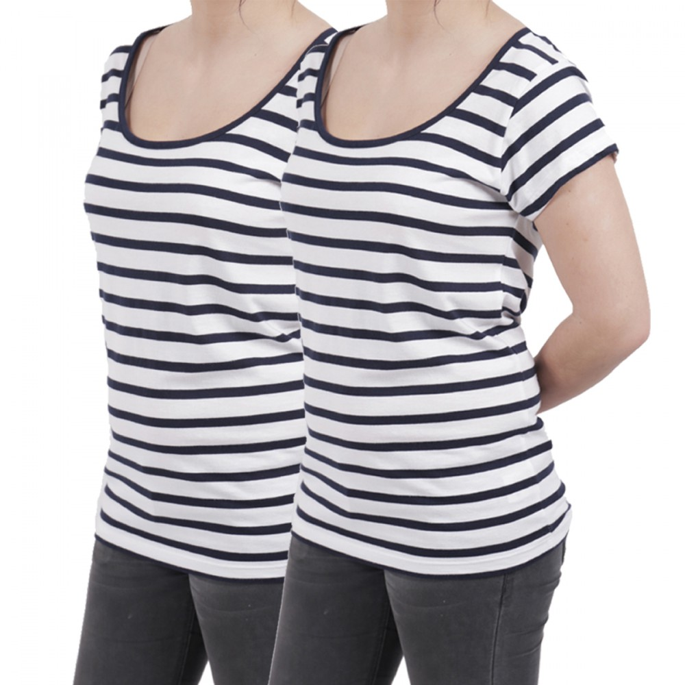 T shirts Femme Lot de 2 Marinières Divinity