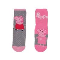 Chaussettes antidérapantes Peppa Pig enfant lot de 2